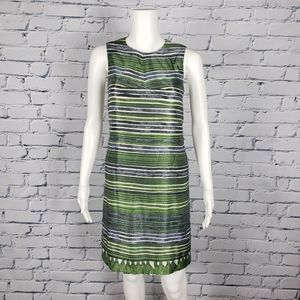 Hugo Boss Green Striped Sheath Dress